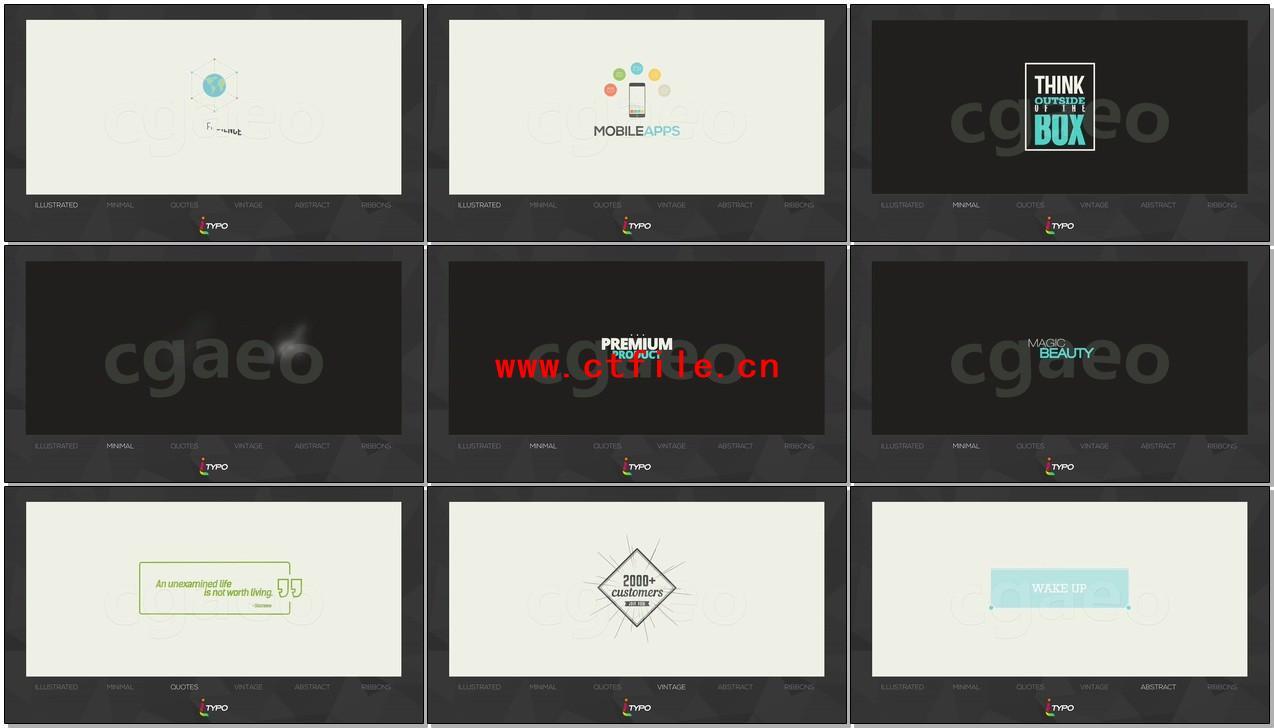 AE模板 100多款复古插图时髦标题字幕动画设计 iTypo Typography & Title Animations
